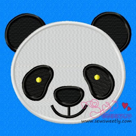 Panda Face Machine Embroidery Design For Kids
