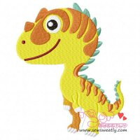 Striped Dinosaur Embroidery Design