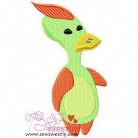 Alien Duck Embroidery Design