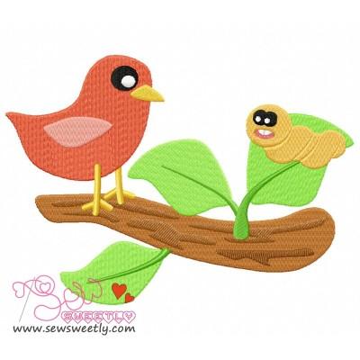 Bird On Branch-1 Embroidery Design