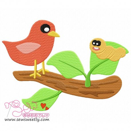 Bird On Branch-1 Machine Embroidery Design For Kids