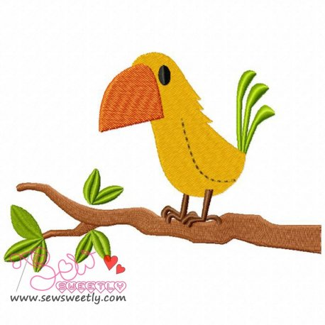 Bird On Branch-2 Machine Embroidery Design For Kids