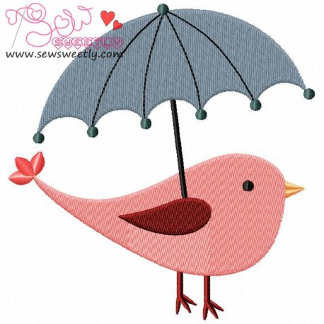 Bird With Umbrella Machine Embroidery Design For Kids