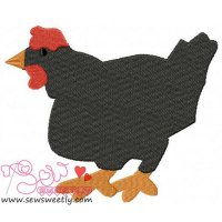 Cartoon Black Hen Embroidery Design