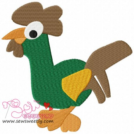 Cartoon Green Rooster Machine Embroidery Design For Kids