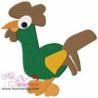 Cartoon Green Rooster Embroidery Design