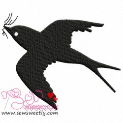 Flying Bird Silhouette Embroidery Design