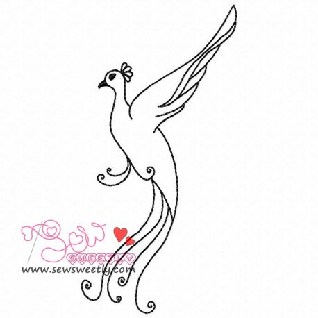 Peacock Outline Embroidery Design For Kids