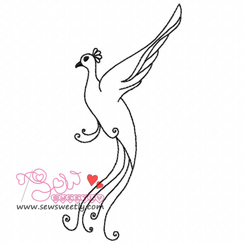 peacock outline embroidery design