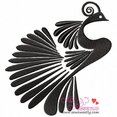Peacock Silhouette Embroidery Design For Kids