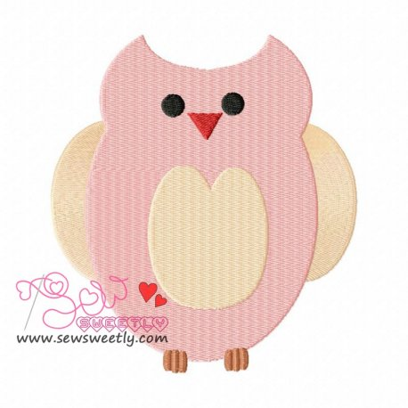 Pink Owl Embroidery Design For Kids