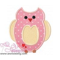 Pink Owl Applique Design