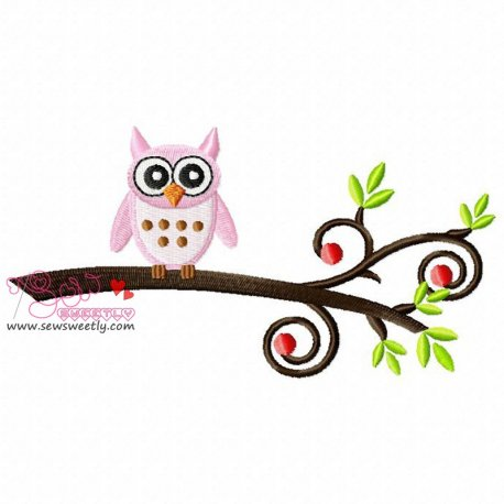 Pink Owl On Branch Embroidery Design For Kids