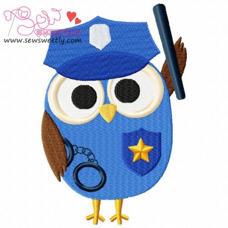 Profession Owl-1 Embroidery Design For Kids
