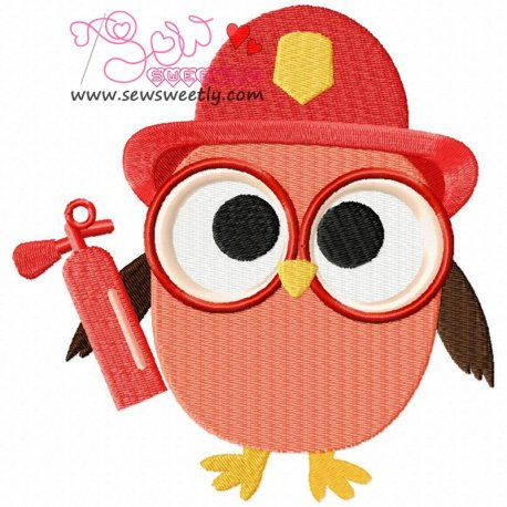 Profession Owl-2 Embroidery Design For Kids