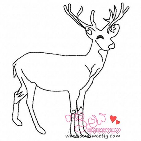Deer Outline-2 Machine Embroidery Design For Kids