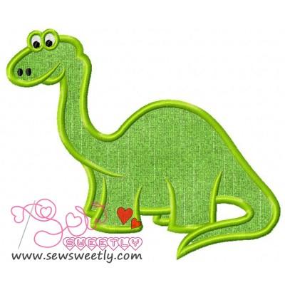 Green Dino Machine Applique Design For Kids