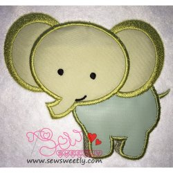 Cute Elephant Applique Design
