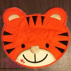 Cute Tiger Face Applique Design