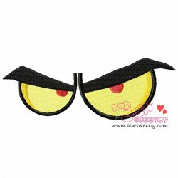 Angry Cartoon Eyes Embroidery Design