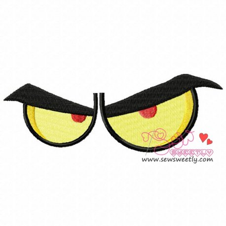 Angry Cartoon Eyes Machine Embroidery Design For Kids