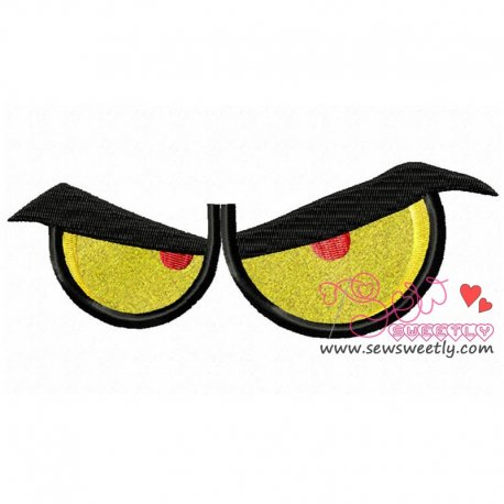 Angry Cartoon Eyes Machine Applique Design For Kids