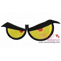 Angry Cartoon Eyes Applique Design