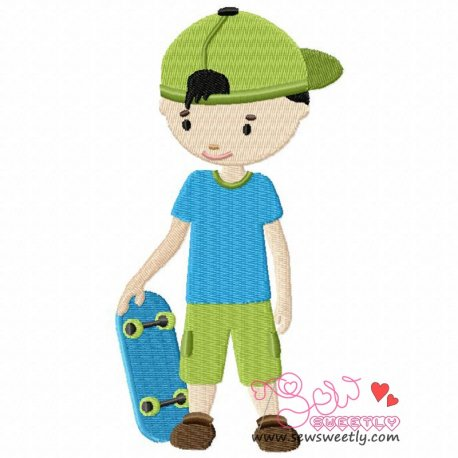 Boy With Skateboard Machine Embroidery Design For Kids