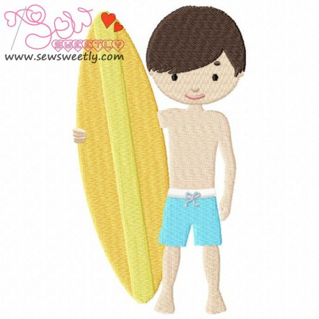 Boy With Surfboard Machine Embroidery Design For Kids