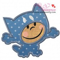 Cartoon Cat Boy Applique Design