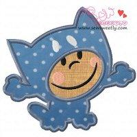 Cartoon Cat Boy Applique Design