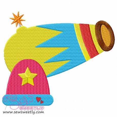 Circus Cannon Embroidery Design Pattern- Category- Cartoons And Kids Designs- 1