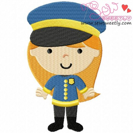 Little Police Girl Machine Embroidery Design For Kids
