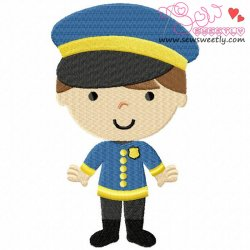 Little Police Boy Embroidery Design