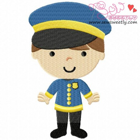 Little Police Boy Machine Embroidery Design For Kids