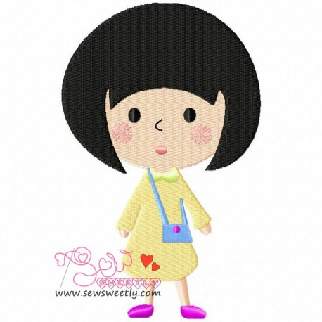 Cute Little Girl Machine Embroidery Design For Kids