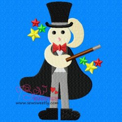 Cute Magician Machine Embroidery Design For Kids