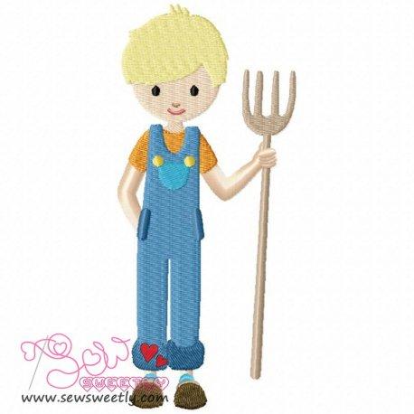 Farmer Boy Machine Embroidery Design For Kids