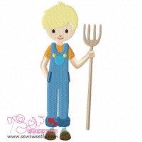 Farmer Boy Embroidery Design