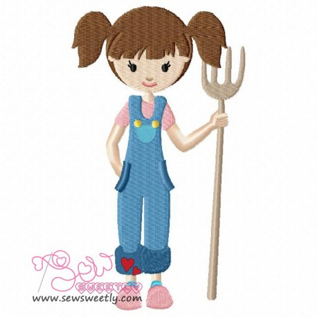 Farmer Girl Embroidery Design Pattern- Category- Cartoons And Kids Designs- 1