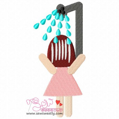 Girl Taking Bath Machine Embroidery Design For Kids
