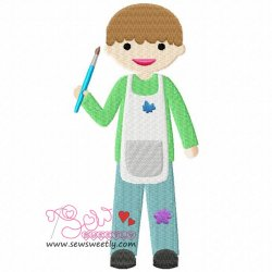Little Artist Boy Embroidery Design