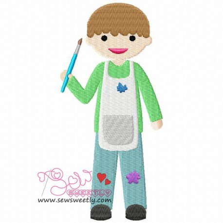 Little Artist Boy Embroidery Design Pattern- Category- Cartoons And Kids Designs- 1