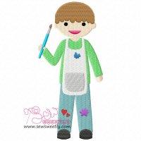 Little Artist Boy Embroidery Design