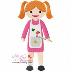 Little Artist Girl Embroidery Design