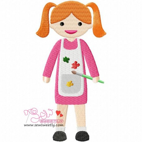 Little Artist Girl Machine Embroidery Design For Kids