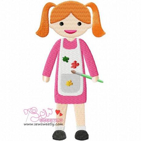 Little Artist Girl Machine Embroidery Design For Kids