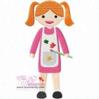 Little Artist Girl Embroidery Design