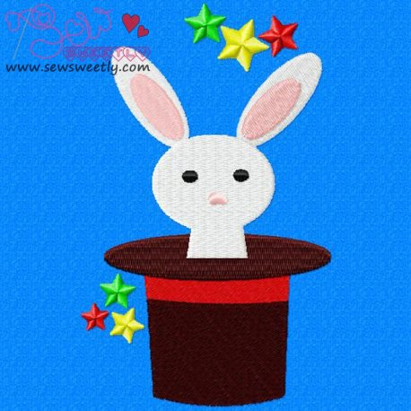 Rabbit In Hat Machine Embroidery Design For Kids