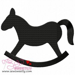 Rocking Horse Silhouette Embroidery Design